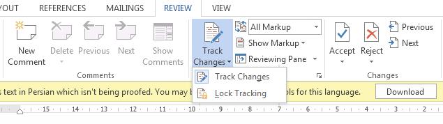 کاربرد track change در word